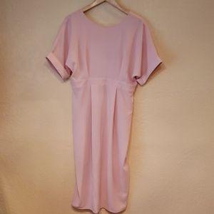 Pink maternity midi dress